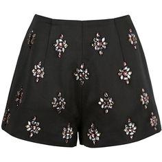 Keepsake City Heat Embellished Shorts ($75) ❤ liked on Polyvore featuring shorts, bottoms, black, high-rise shorts, high rise shorts, party shorts, relaxed shorts and embellished shorts