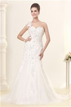 Awesome Mermaid One-shoulder Floor-Length Chapel Beaded Sandra's Wedding Dreses EF84556