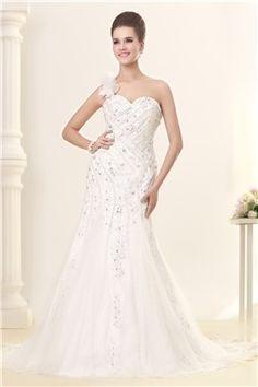 Awesome Mermaid One-shoulder Floor-Length Chapel Beaded Sandra's Wedding Dreses EF84556