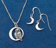 """Crescent Moon Jewelry A quiet owl swings in a silver crescent moon, listening to the music of the night. Sterling silver pendant on 18"""" chain; coordinating moon earrings. Hand-cast in the USA."""