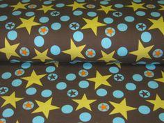 Jersey Noah's Sterne gelb-türkis auf braun von Retro-Stoff-Cafe auf DaWanda.com