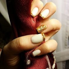 #nails #gold #fashion #white