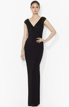 MOB - Lauren Ralph Lauren Embellished Jersey Column Gown available at #Nordstrom