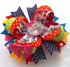 Large Handmade Boutique Birthday Hair Bow - Birthday Girl Hair Bow