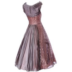 Preowned Vintage 1950s 50s Rose Lace And Pleated Silk Party Dress With... ($595) ❤ liked on Polyvore featuring dresses, vintage, red, lace dress, purple lace cocktail dress, purple vintage dress, purple dress and vintage cocktail dresses