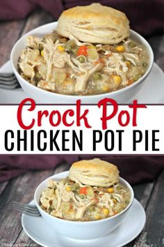 The Best Crock pot Chicken Pot Pie Recipe. You are going to love this easy chick. - The Best Crock pot Chicken Pot Pie Recipe. You are going to love this easy chicken pot pie recipe. Best Chicken Pot Pie, Easy Chicken Recipes, Crockpot Chicken Pot Pie Recipe, Healthy Chicken Pot Pie, Potato Recipes, Recipes With Biscuits, Chicken Crock Pot Meals, Chicken Pot Pie Casserole, Gastronomia