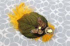 Golden Wings Hair Clip by earthcharms on Etsy (Accessories, Hair, Clip, earthcharms, socoetsy, hair clip, butterfly, yellow, ostrich feather, green leaf, brown, bronze, cog, earth, rhinestone)