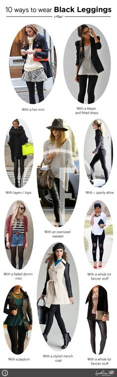 I have put together an info-graphic for you to get inspired and learn how to wear black leggings in different ways and styles. Just one black leggings READ.