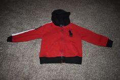 Polo Ralph Lauren Toddler Boys Red Black Hooded Sweatshirt Jacket Full Zip 4/ 4T #RalphLauren #Hoodie #Everyday