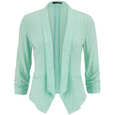 maurices Patterned Blazer In Mint ($8.75) ❤ liked on Polyvore featuring outerwear, jackets, blazers, cardigans, green, mint creme combo, mint jacket, pattern jacket, green jacket and cream jacket