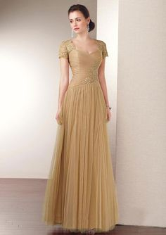 A-line Sweetheart-neck Short Sleeve Tulle Evening Dresses