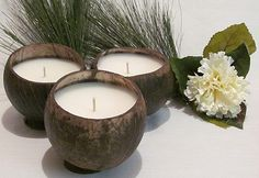 Natural Coconut Shell Candle by BebrDesigns on Etsy, $8.99