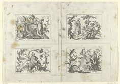 Johann Esaias Nilson | Vier scènes met pijprokende mannen, Johann Esaias Nilson, c. 1731 - 1788 | Vier scènes op een blad, genummerd 9-12. Linksboven een man met een pijp naast een kwabornament. De vrouw aan de andere kant vult een kopje. Rechtsboven een vrouw met een kan voor een man met een pijp. Linksonder rookt een man met tulband een lange pijp. Rechtsonder een Aziatische man met kop-en-schotel naast een vrouw.