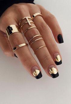 Stylish Nails, Trendy Nails, Cute Nails, Modern Nails, Metallic Nails, Black Gel Nails, Dry Nails, Spring Nail Art, Minimalist Nails