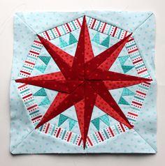 Paper piecing star pattern red aqua