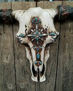"""Rustic Western cow skull w cross turquoise embellishments  21"""" × 13"""" home decor 