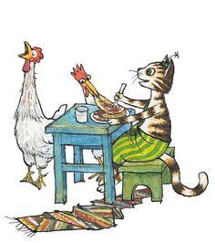 Sven Nordqvist. Pettson & Findus. SWEDEN. Men With Cats, Trolls, Nordic Art, Here Kitty Kitty, Typography Prints, Children's Book Illustration, Cartoon Art, Cat Art, Painting & Drawing
