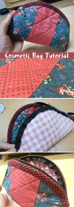 How to make a cute quilted cosmetic zippered bag! Quilting and patchwork. DIY Tutorial. http://www.handmadiya.com/2015/09/quilted-zippered-cosmetic-bag-tutorial.html