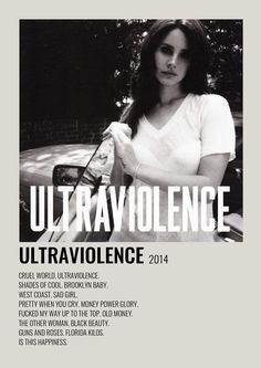 Minimalist Music, Minimalist Poster, Ultraviolence Album, Ldr, Film Movie, Movies, Lana Del Rey Albums, Pretty When You Cry, Poster Minimalista
