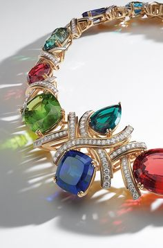 Archival Blue Book Paloma Picasso® necklace in platinum and 18k gold with colored gemstones and diamonds.