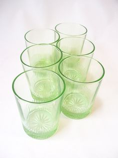 glassware vintage depression glass green by RecycleBuyVintage, $68.00
