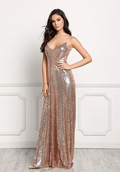Rose Gold Long Slip Sequin Dress - Going Out - Dresses Rose Gold Long Dress, Long Slip Dress, Maxi Gowns, Satin Dresses, Sparkly Dresses, Prom Gowns, Metallic Dress, Sequin Dress, Fashion Nova Prom Dresses