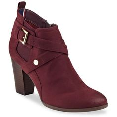 Tommy Hilfiger Wine Silvia Belted Bootie - Women's ($50) ❤ liked on Polyvore featuring shoes, boots, ankle booties, wine, side zip ankle boots, wine boots, ankle boots, short boots and bootie boots