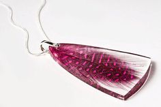 Fuchsia feather resin pendant Sterling silver by SOrepublic