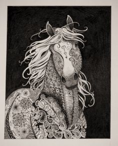 Pirouette a zentangled horse by CrazyWomanDesigns208 on Etsy