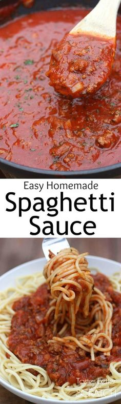 The American version  of Bolognese Sauce.  Homemade Spaghetti Sauce recipe from TastesBetterFromScratch.com