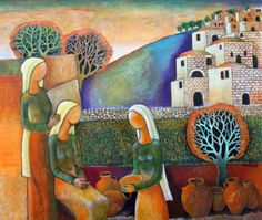The Village, 2012 - by Nabil Anani Palestine Art, Palestine History, House Quilts, Mini Paintings, Egyptian Art, Folk, Artist At Work, Lovers Art, Fine Art Photography
