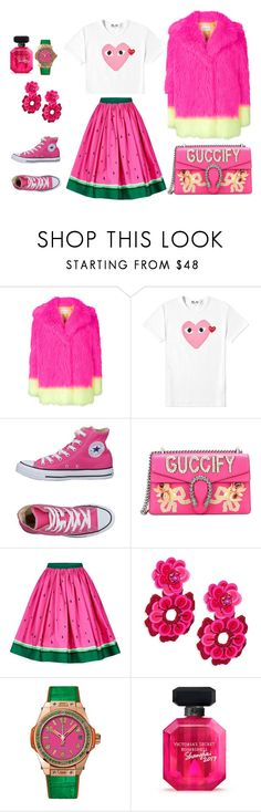 """""""pink casual"""" by mylove77 ❤ liked on Polyvore featuring Alberta Ferretti, Play Comme des Garçons, Converse, Gucci, Kate Spade, Hublot and Victoria's Secret"""