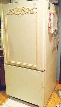 I have a very old fridge that needed serious TLC. Since I couldn't afford a new one, I started to make it look like a French armoire.  This is what it used to look like. I get most of my best ideas at two in the morning.  I find myself wide awake with such excitement while trying to figure out how I would logically turn this idea into a reality.  Then the torture of waiting all day the next day until we are free to head out to Home Depot or where ever the destination is.  The guys from Home…