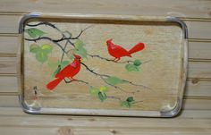 vintage Wooden Tray Japanese Metal Corners Cardinals Birds by grannysbackporchvint on Etsy
