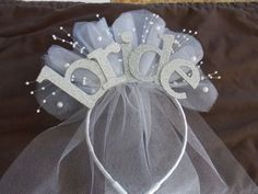 Bride Party Sparkle Headband - with veil for new Bride to be , Bride Gift, Bridal Shower and Bachelorette Gift $25.00