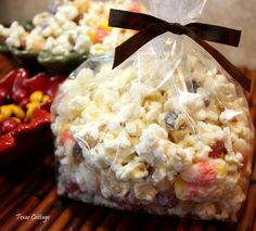 Goblin Bait   Popcorn, candy corn, M&M's (plain and peanut) and white chocolate.
