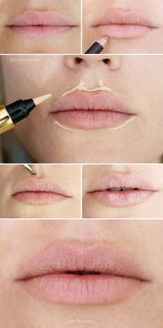 Fuller lips trick-just fill in with a nude lipstick or gloss