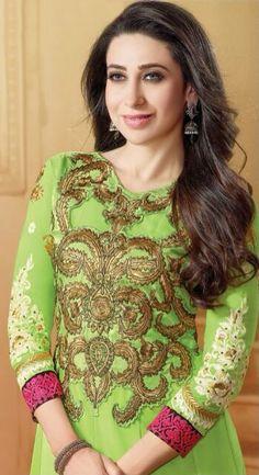 Karishma Scintillating Parrot Green Georgette Anarkali Suit