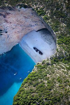 Aerial view of the Navagio Beach in Zakynthos island #Greece by Mark Podrabinek.
