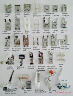 Sewing Techniques Couture names of sewing machine feet - One set that contains all the sewing presser feet you will ever need! Did you get this set and the names were all Chinese - here are the English names. Sewing Basics, Sewing Hacks, Sewing Tutorials, Sewing Crafts, Basic Sewing, Sewing Ideas, Sewing Lessons, Sewing Art, Techniques Couture