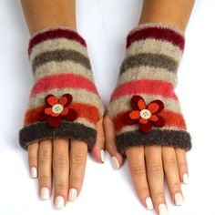 How to Make Felt Fingerless Gloves. What better way to upcycle a damaged, worn or otherwise useless wool sweater than by creating something new and functional? Handmade gloves achieve this, and provide a thrifty way to keep hands warm and fingers available to text and type. These environmentally friendly fingerless gloves are stylish and...