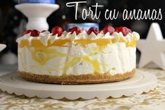 tort cu ananas Cheesecakes, Vanilla Cake, Biscuit, Deserts, Food, Recipes, Pineapple, Cheese Cakes, Desserts