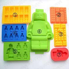 Agujeros Lego Mini Figura Robot Cubito de Hielo Del Molde de Chocolate Torta de La Jalea Moldes de Pasta de Azúcar Del Molde de Silicona Jello Herramientas de La Torta