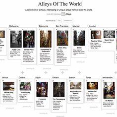 Notable alleys from various locations around the world  #alleys #alleysofitaly #alleysofchicago #alleysoflondon #alleysoftheworld #infographic #urbanexploration #urbanphotography