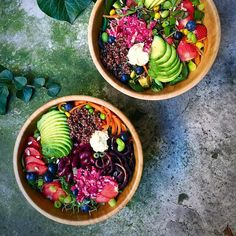 """food-without-regrets: """"Réunion with my wood bowls. Missed them a lot. Now missing the summer and trying to get it back with summer rainbow bowls . Strawberry season is obviously over but I had to make some summer recipes for my book . So pardon me..."""