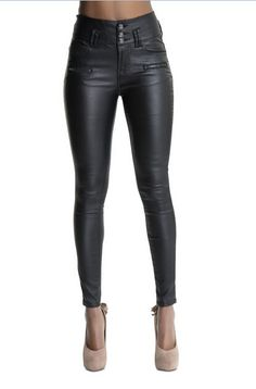 Leather Pants Pant Style: Pencil Pants Pattern Type: Solid Front Style: Flat Waist Type: High Material: Cotton,Polyester,Faux Leather Length: Full Length Closure Type: Zipper Fly