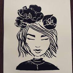 Girl #linocutprint #linoryt #linoprinting #linoprint #linoblock #linocut #linocutting #plakat #poster #posterdesign #posterforkids #imadeit… Linocut Prints, Art Prints, Poster Design, Linoprint, Instagram Users, Instagram Posts, Printmaking, My Arts, Flowers