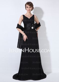 Mother of the Bride Dresses - $172.29 - Sheath V-neck Sweep Train Chiffon  Charmeuse Mother of the Bride Dresses With Ruffle (008006874) http://jenjenhouse.com/Sheath-V-neck-Sweep-Train-Chiffon--Charmeuse-Mother-Of-The-Bride-Dresses-With-Ruffle-008006874-g6874