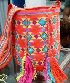 Wayuu Mochila bag Tapestry Bag, Tapestry Crochet, Knit Crochet, Mochila Crochet, Crochet Purses, Crochet Bags, Contemporary Embroidery, Boho Bags, Fabric Bags