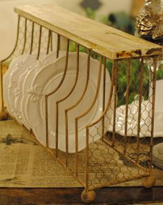 Oversized Plate Rack Holds Up To 20 Dinner Plates Accented With En Wire And Solid Wood Top